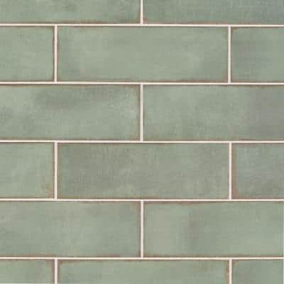 Santa Fe Green 3.93 in. x 11.96 in. Polished Ceramic Wall Tile (10.76 sq. ft./Case)