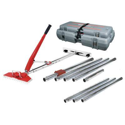 12-Piece 38 ft. Power-Lok Carpet Stretcher Value Kit with 17 Handle Locking Positions and Rolling, Interlocking Cases