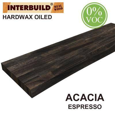 Acacia 3 ft. L x 10 in. D x 1.5 in. T Butcher Block Countertop Floating Wall Shelf in Espresso Stain with Live Edge