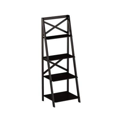 38 in. Black Wood 4-shelf Ladder Bookcase with Open Back