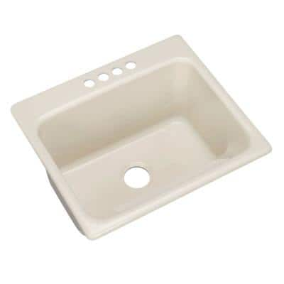 Kensington Drop-In Acrylic 25 in. 4-Hole Single Bowl Utility Sink in Bone