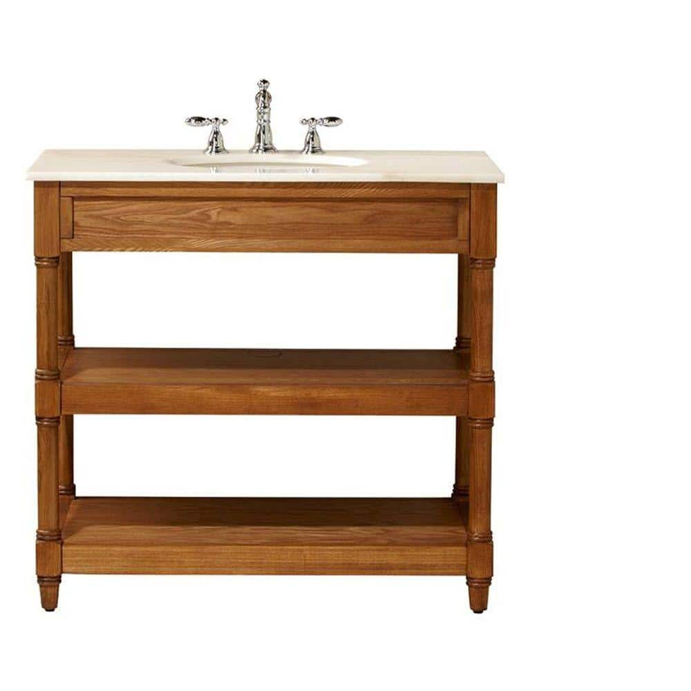 Home Decorators Collection Montaigne 37 In W X 22 In D Open Bath Vanity Cabinet In Weathered Oak With Marble Vanity Top In White With White Sink 10507 Vs36j The Home Depot