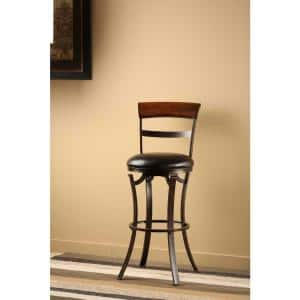 Kennedy 26 in. Black/Gold Swivel Counter Stool