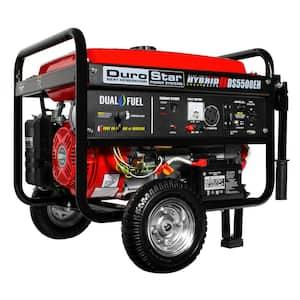 5500-Watt/4500-Watt Electric Start Hybrid Dual Fuel Powered Portable Generator with Wheel Kit