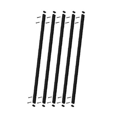 32-1/4 in. x 1 in. Black Aluminum Face Mount Deck Railing Baluster (5-Pack)