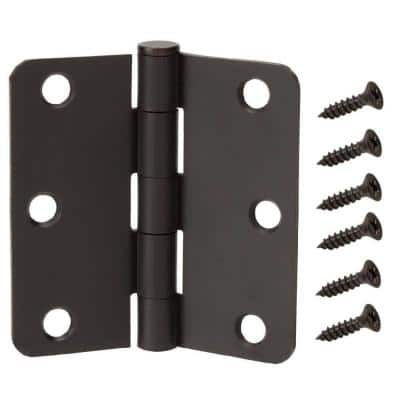 3-1/2 in. Oil Rubbed Bronze 1/4 in. Radius Door Hinges Value Pack (3-Pack)