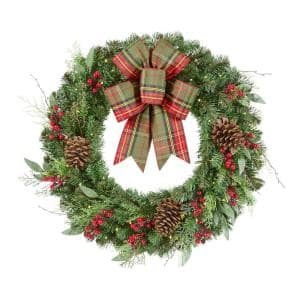 30 in. Woodmoore Battery Operated Mixed Pine LED Pre-Lit Artificial Christmas Wreath with Timer and Plaid Ribbon