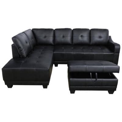 Mike 3-Piece Black Faux Leather 3-Seater L-Shaped Left-Facing Sectional Sofa with Ottoman