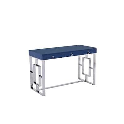 47 in. Rectangular Blue Modern Computer Desk, Silver
