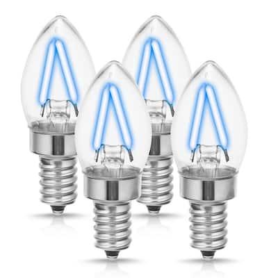 20-Watt Equivalent C7 Edison Blue LED Filament Light Bulb (4-Pack)