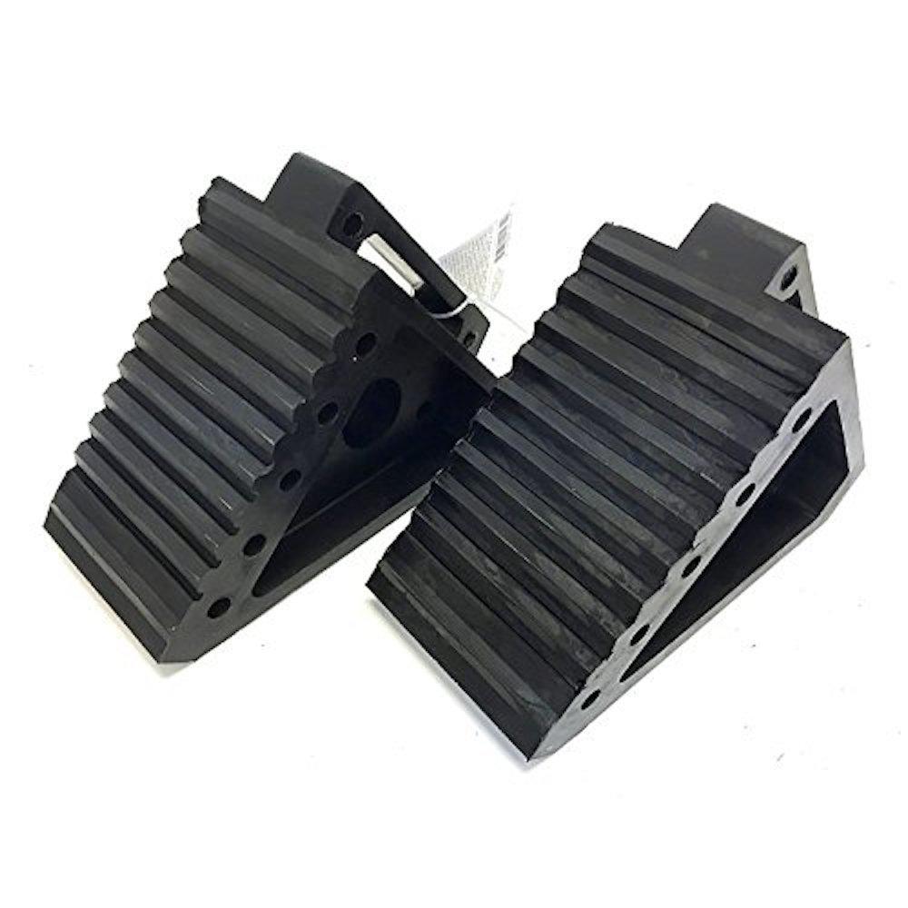 8 in. L x 4 in. W x 6 in. H Solid Rubber Heavy-Duty Black Wheel Chock (2-Pack)