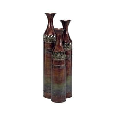 Brown Metal Traditional Decorative Vase (Set of 3)