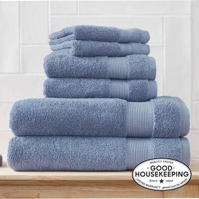 6-Piece Hygrocotton Towel Set in Washed Denim