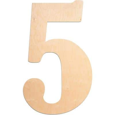 """18 in. Oversized Unfinished Wood Number """"5"""""""
