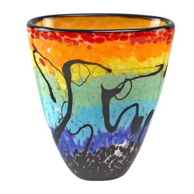 Allura Murano Style Art Glass Oval 7 in. Vase