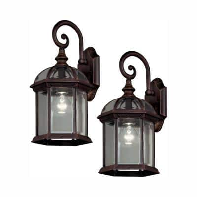 Twin Pack 1-Light Weathered Bronze Outdoor Wall Lantern Sconce