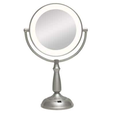 Ultra Bright LED Lighted 10X/1X Round Vanity Makeup Mirror in Satin Nickel