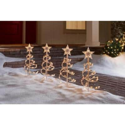 18 in. White Spiral Tree Pathway Lights (Set of 4)