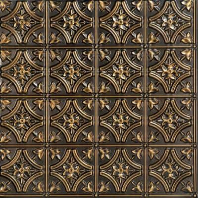 Gothic Reams 2 ft. x 2 ft. Glue Up PVC Ceiling Tile in Antique Gold