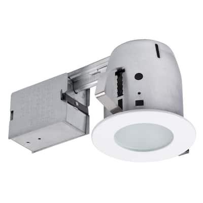 4 in. White Recessed Circular Shower Lighting Kit