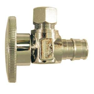 1/2 in. Chrome-Plated Brass PEX-A Expansion Barb x 3/8 in. Compression Quarter-Turn Angle Stop Valve