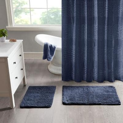 Ritzy 21 in. x 34 in. and 17 in. x 24 in. 2-Piece Navy 100% Cotton Solid Tufted 2 Piece Bath Rug Set