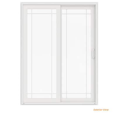 72 in. x 96 in. V-4500 White Vinyl Left-Hand 9 Lite Sliding Patio Door