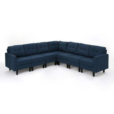 Emmie 7- Piece Navy Blue Fabric 6-Seat L Shaped Reversible Sectionals with Armrests