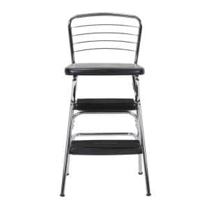 2-Step 3 ft. Steel Retro Step Stool with 225 lbs. Load Capacity in Black