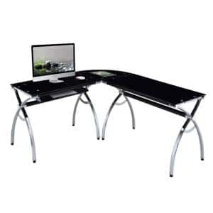 62 in. L-Shaped Black/Chrome Computer Desk with Keyboard Tray