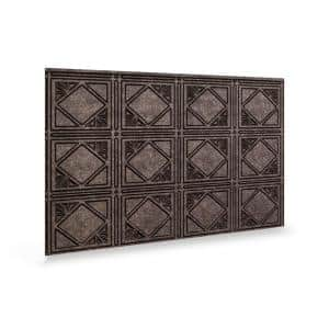 24.3 in. x 18.5 in. Artnouvo Decorative 3D PVC Backsplash Panels in Smoked Pewter 12-Pieces