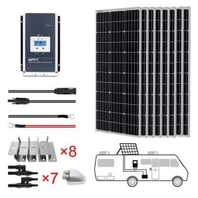 800-Watt Monocrystalline OffGrid Solar Power Kit with 8 x 100-Watt Solar Panel, 60 Amp MPPT Charge Controller