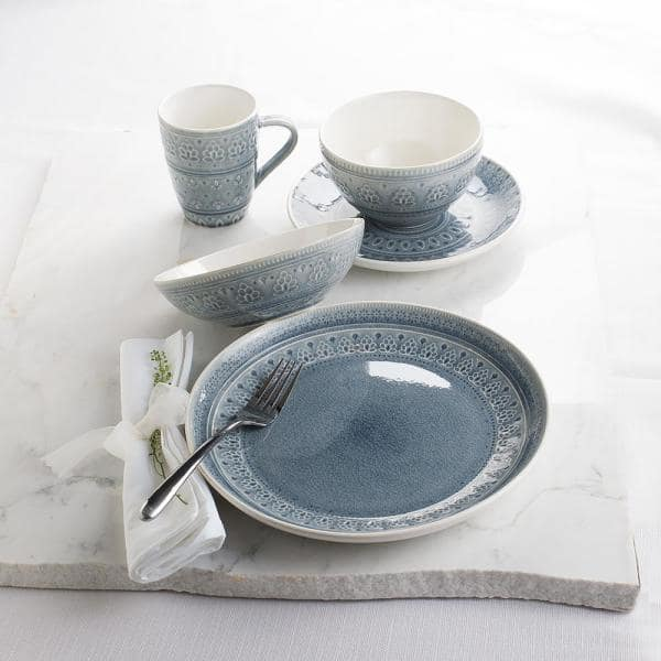 Euro Ceramica Fez 20 Piece Bohemian Grey Stoneware Dinnerware Set Service For 4 Fez 86530ggb The Home Depot