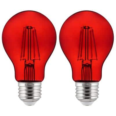 60-Watt Equivalent A19 Dimmable Filament E26 Medium Base LED Light Bulb in Red (2-Pack)