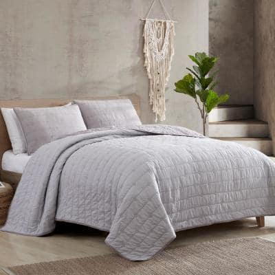 3-Piece Everly Embroidered Quilt Set Orchid/Oyster King