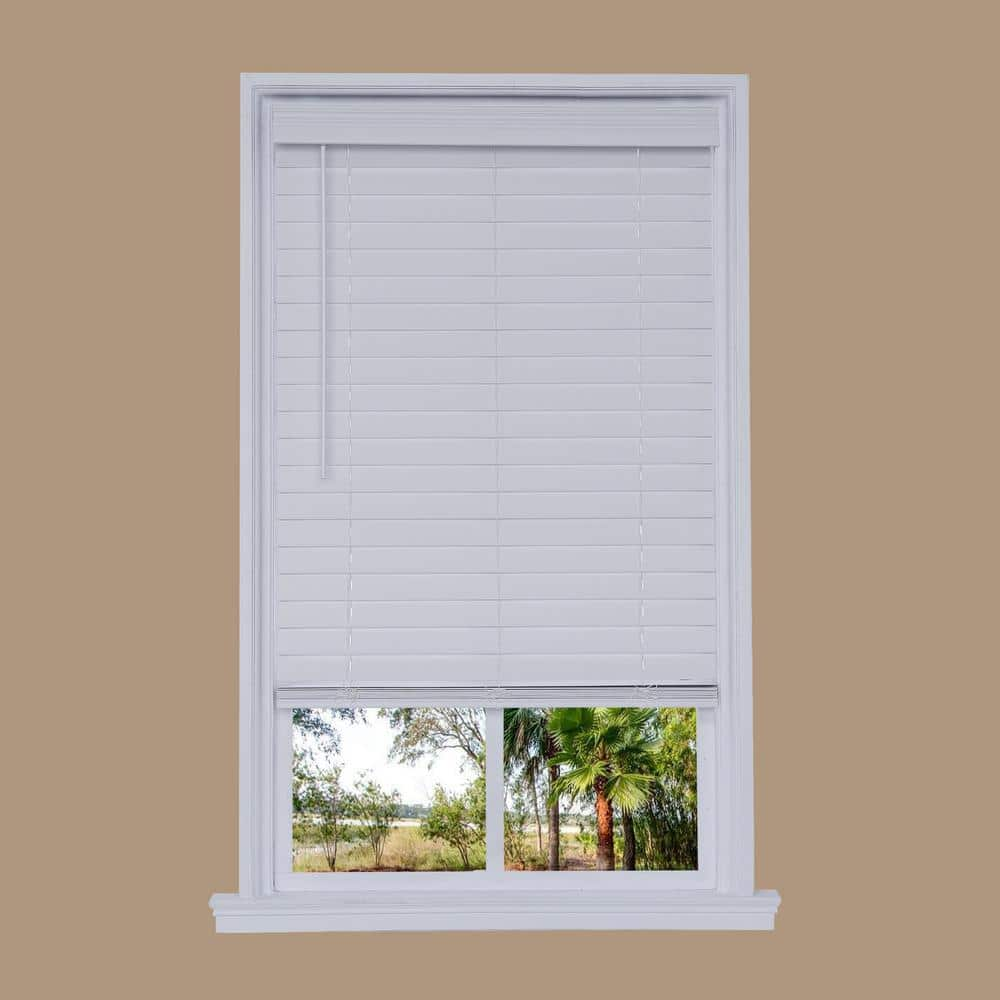 Cut To Width White Cordless 2 5 In Faux Wood Blind 48 In W X 72 In L Dfhsa4872 48 The Home Depot