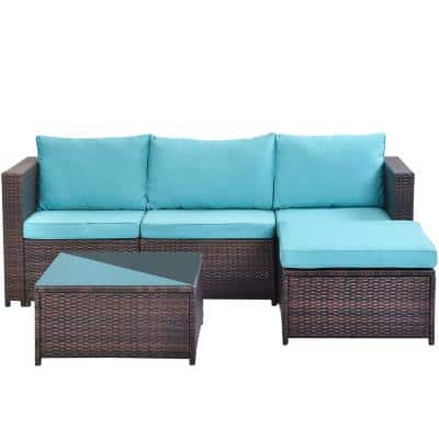 5-Pieces All-Weather Outdoor Sectional Rattan Sofa Wicker Patio Conversation Set with Blue Cushion
