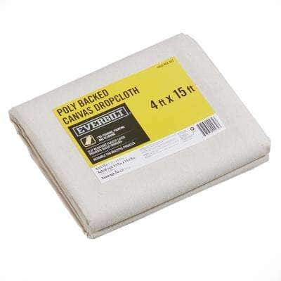 4 Ft x 15 Ft Poly Backed Canvas Drop Cloth