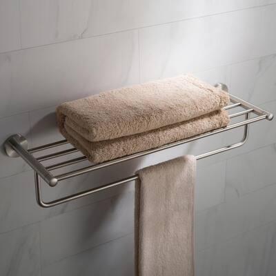 Elie Bathroom Shelf with Towel Bar in Brushed Nickel