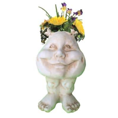 8.5 in. Antique White Sister Suzy Q the Muggly Face Statue Planter Holds 3 in. Pot