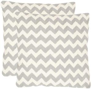 Tealea Light Grey Striped Down Alternative 22 in. x 22 in. Throw Pillow (Set of 2)