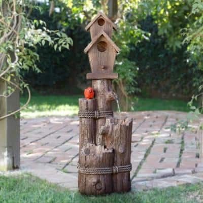 35 in. Tall Outdoor 3-Tier Birdhouse Water Fountain Yard Art Decor