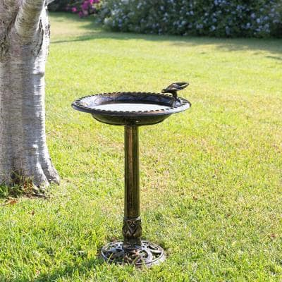 27 in. Tall Outdoor Antique Style Bronze Birdbath Bowl with Bird Figurine
