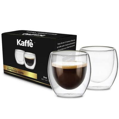 3 oz. Small Espresso Cups Double-Wall Borosilicate Glass Coffee Cups Set of 2 (Two)