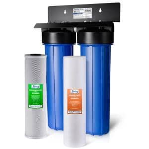 Whole House Water Filter System w/ Sediment and Carbon Block Filters, 2-Stage, Up to 100k Gal. Capacity