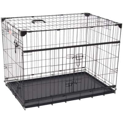 30 in. Sliding Double Door Dog Crate with Patented Corner Stabilizers, Removable Tray, Rubber Feet and Carrying Handle