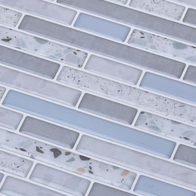 12 in. x 12 in. x 0.06 in. Azure Grey Peel and Stick Backsplash Tile for Kitchen/Bathroom (10-Tiles/Pack)