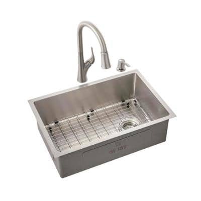 All-in-One Brushed Stainless Steel 27 in. 18-Gauge Tight Radius Single Bowl Undermount Kitchen Sink with Faucet