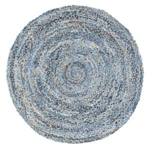 Otelia Solid Jute Denim 6 ft. x 6 ft. Indoor Round Rug