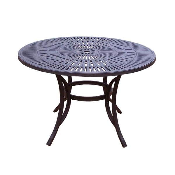 Oakland Living 48 In Coffee Brown, Round Picnic Table With Umbrella Hole